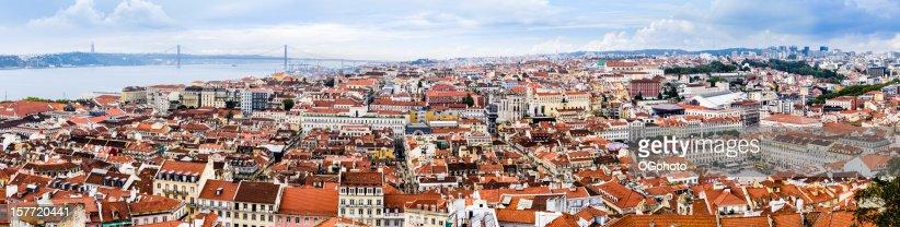 Panoramic skyline of Lisbon, Portugal : Stock Photo