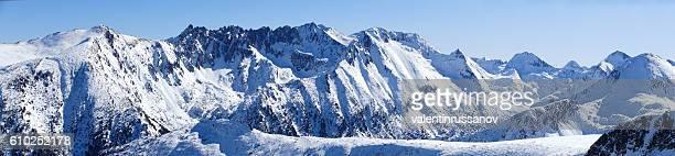Panoramic snow mountain peak