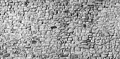 Panoramic old stone wall background in black and white
