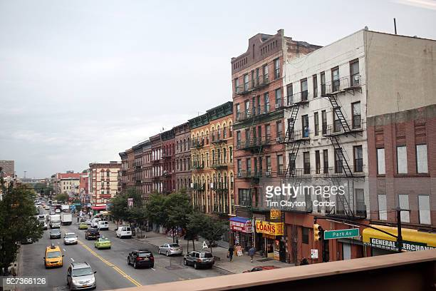 A panoramic Street Scene in Harlem New York City USA 30th September 2014 Photo Tim Clayton