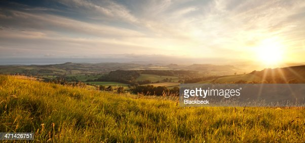 Panoramic sunset over English countryside in Dorset