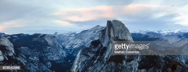 Panoramic sunset over Half Dome, Yosemite, California, USA