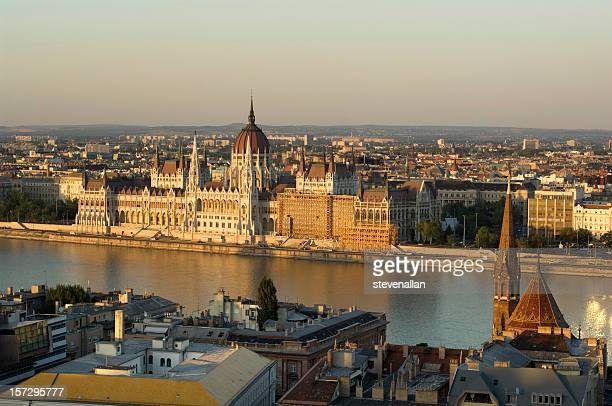 Panoramic sunset over parliament Hungary, Budapest