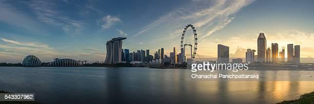 Panoramic sunset scene of Singapore city skyline
