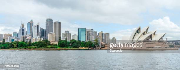 Panoramic Sydney cityscape and skyline over the Sydney Harbor