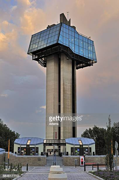 Panoramic tower at the Gileppe Dam / Barrage de la Gileppe archgravity dam in the Belgian Ardennes Belgium