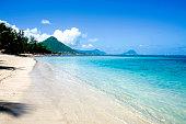 Panoramic tropical beach, blue sea and sky