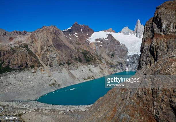 Panoramic turquoise Lago Sucia sits in among rocks, Argentina, Patagonia, South America