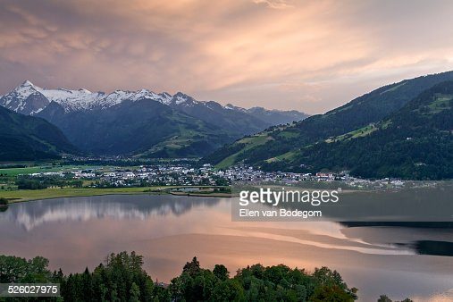 Panoramic view at dusk over Lake Zell