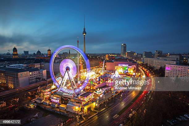 Panoramic view at sunset of Berlin with Christmas Market