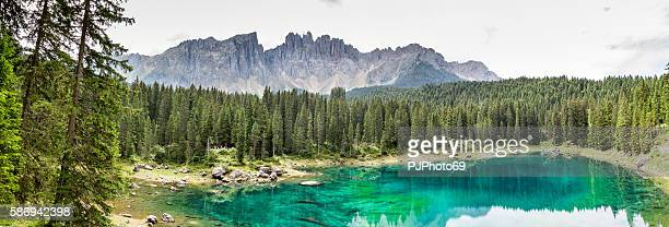 Panoramic view Carezza Lake  - Trentino Alto Adige - Italy