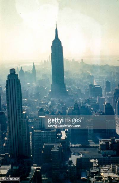 Panoramic view facing south of the downtown Manhattan skyline in New York City 1957 At center stands the Empire State Building located at Fifth...