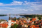 Panoramic view from Gardos Lookout In Zemun, on River Danube, Belgrade, Serbia