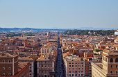 Panoramic view of Rome from the observation deck on the monument of Vittorio Emanuele