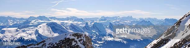 Panoramablick vom Berg Säntis, der Schweiz über die Churfirsten