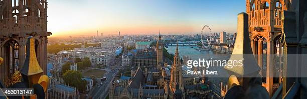 Panoramic view From Victoria Tower on Houses of Parliament and London skyline at sunset