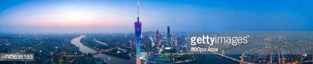 Panoramic view Guangzhou TV Tower and other modern skyscrapers at night, Guangzhou, Guangdong, China