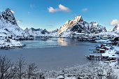 Panoramic view of a fjord and the village of Reine on the Lofoten Islands in Norway in winter