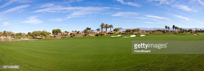 Panoramic view of a golf course : Stock Photo