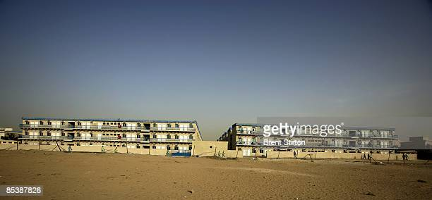 A panoramic view of a large labour camp on May 1 2006 in Sharjah United Arab Emirates where many migrant labourers are based This is how many of the...