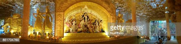 Panoramic view of a Puja pandal or a temporary platforms for the upcoming Durga Puja Festival in Kolkata India on Friday 22nd September 2017 Durga...