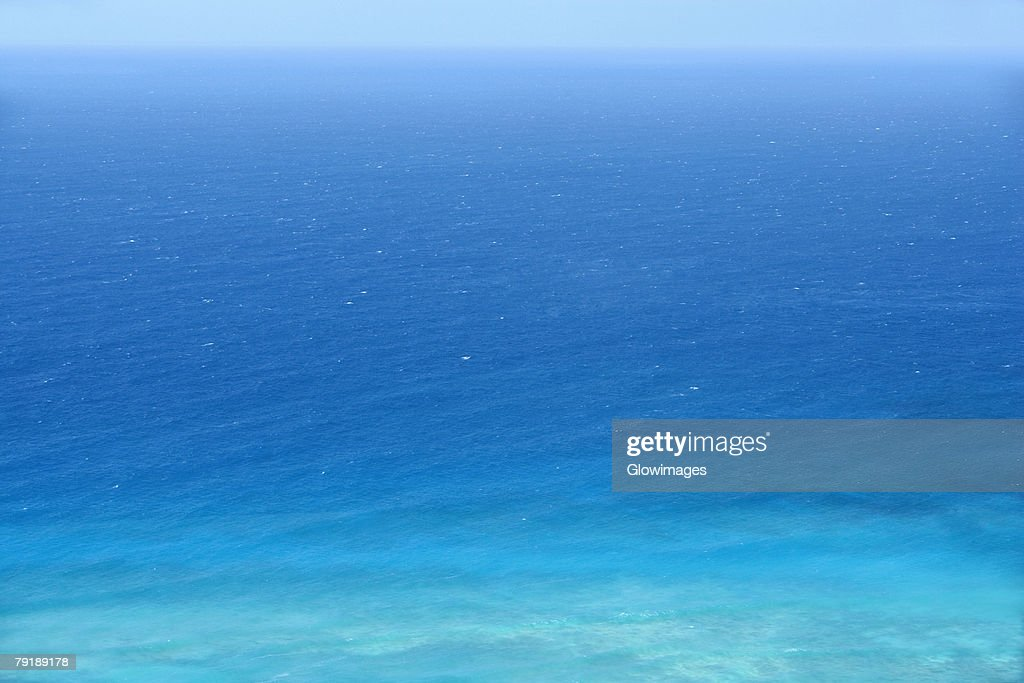 Panoramic view of a sea, Diamond Head, Waikiki Beach, Honolulu, Oahu, Hawaii Islands, USA : Stock Photo