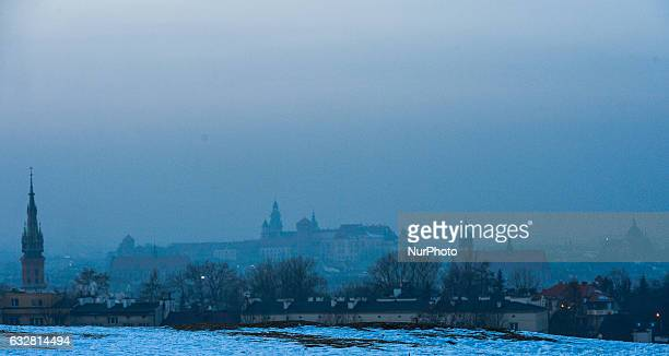 A panoramic view of a smog mixed with fog over Krakow Old Town area seen from Krakus Mound during a smog alert on 26 January as the air pollution in...