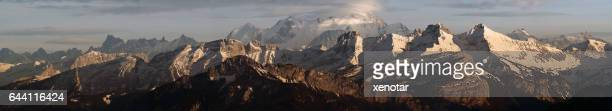 Panoramic view of Alps and Montblanc