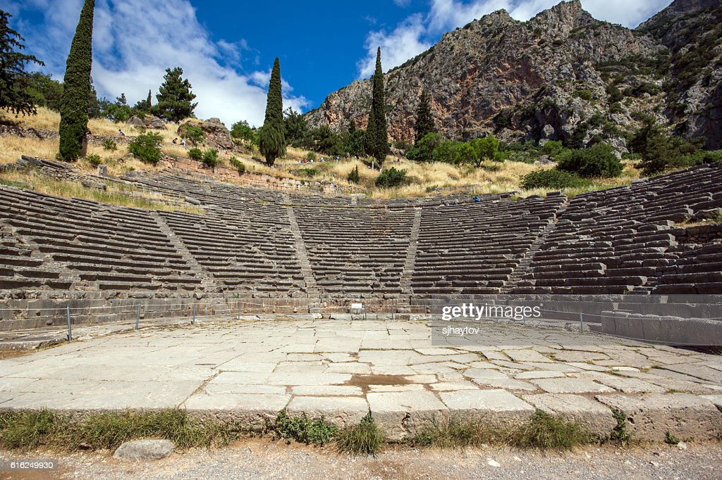 Panoramic view of Amphitheater in Delphi,Greece : Stock Photo