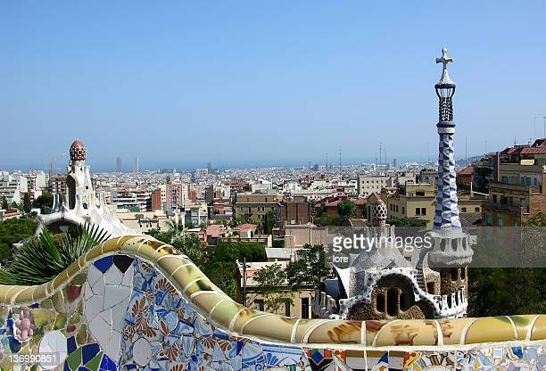 Panoramic view of Barcelona in the afternoon