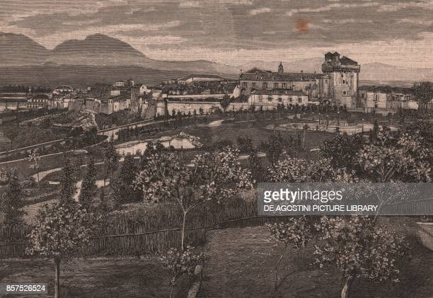 Panoramic view of Benevento Campania Italy woodcut from Le Cento citta d'Italia illustrated monthly supplement of Il Secolo Milan 1891