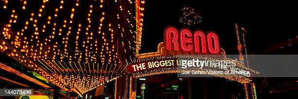 Panoramic view of Biggest Little City in America Reno Nevada neon lights and casinos