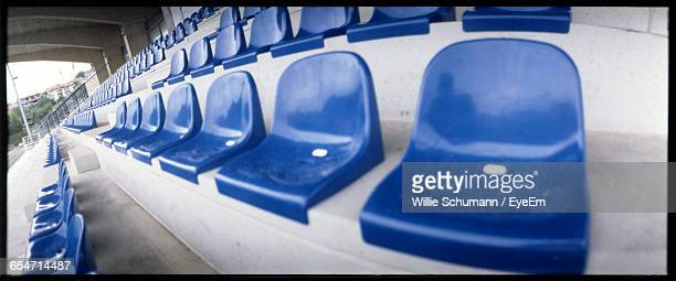 Panoramic View Of Blue Stadium Seats