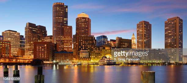 A panoramic view of Boston skyline during sunset