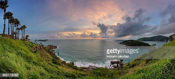 Panoramic view of Cape Promthep at sunset, Phuket, Thailand