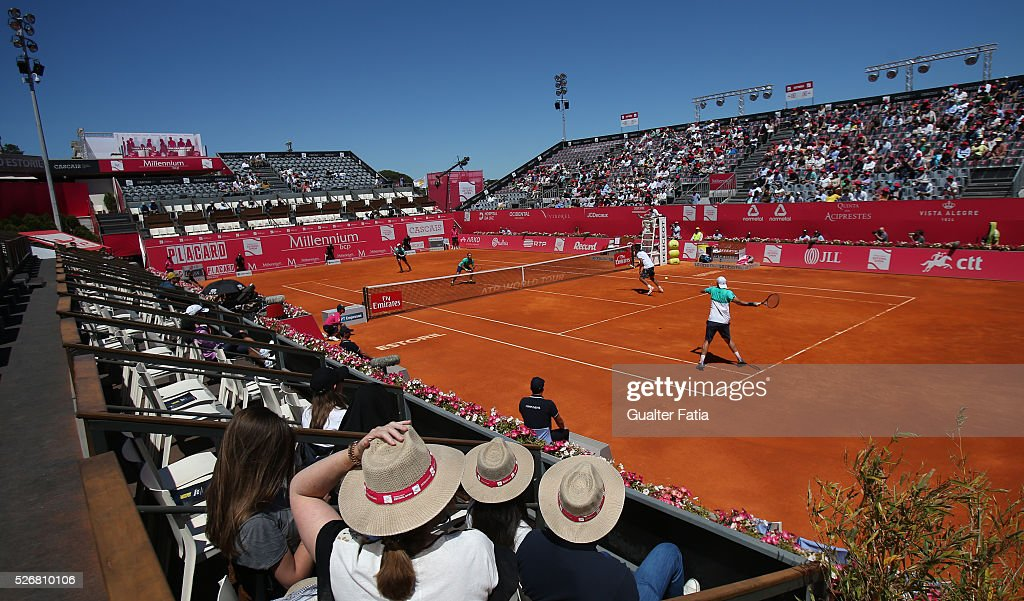 Panoramic view of center court during the doubles final match between Lukasz Kubot and Marcin Matkowski from Poland and Eric Butorac and Scott Lipsky from the United States for Millennium Estoril Open at Clube de Tenis do Estoril on May 1, 2016 in Estoril, Portugal.