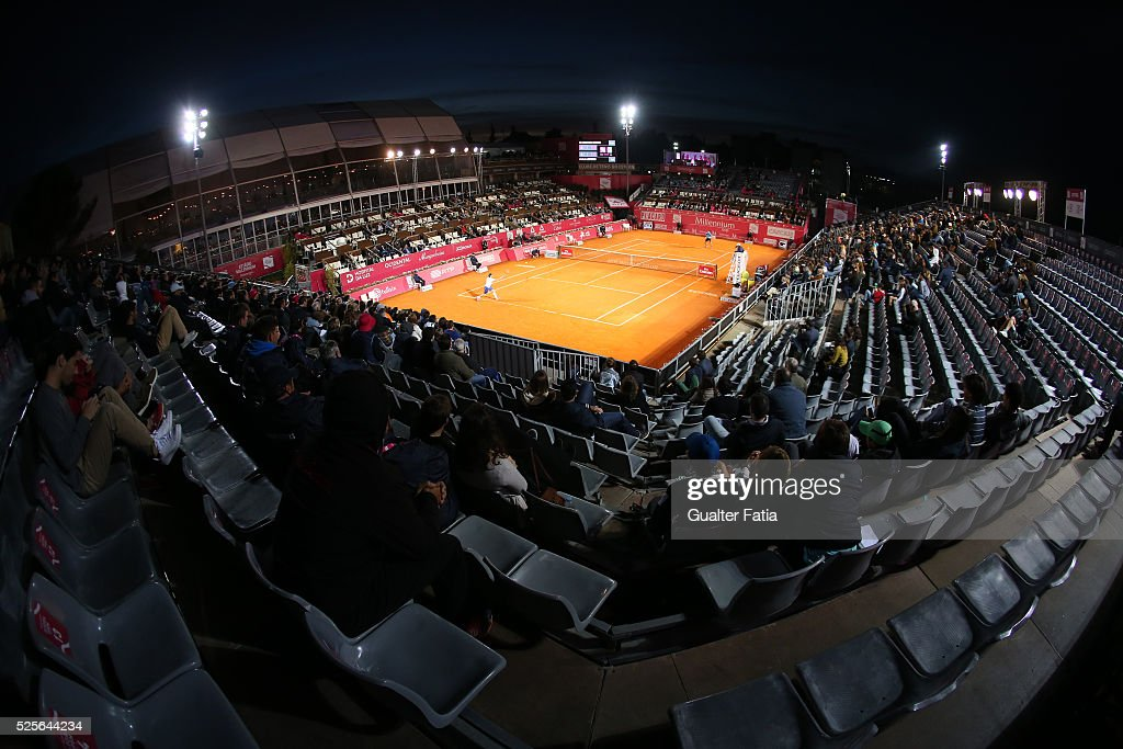 Panoramic view of center court during the match between Leonardo Mayer and Paolo Lorenzi for Millennium Estoril Open at Clube de Tenis do Estoril on April 28, 2016 in Estoril, Portugal.