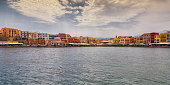 Panoramic view of the colorful village of Chania in the Greek island of Crete, a popular tourist destination on the Aegean sea.