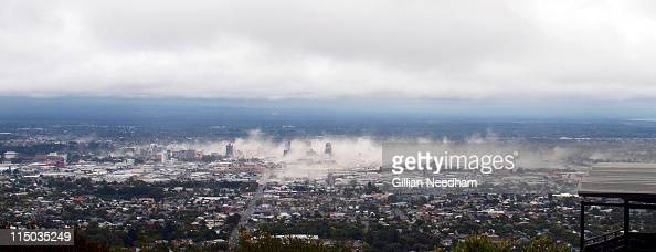 A panoramic view of Christchurch town centre taken from Port Hills is seen at 1258 7 minutes after the 63 magnitude struck central Christchurch at...
