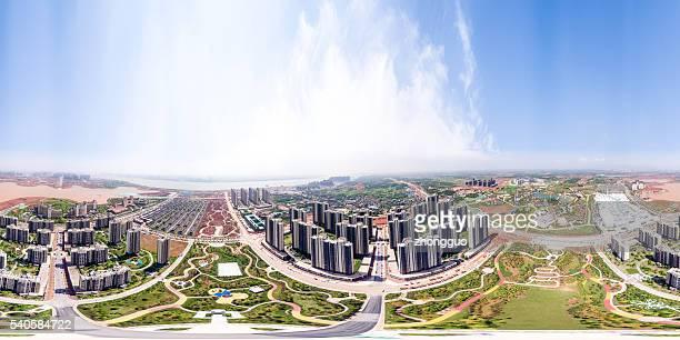 360 ° panoramic view of city buildings