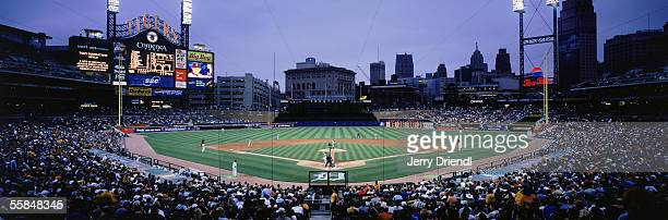 Panoramic view of Comerica Park from home plate lower level at dust during a game between the Detroit Tigers and the San Diego Padres on June 15 2005...