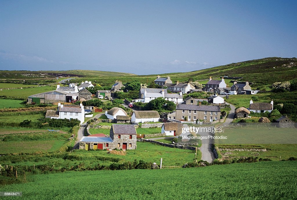 Panoramic view of cottages, Cregnesh, Isle of Man, British Isles