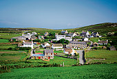 Panoramic view of cottages, Cregnesh, Isle of Man, British Isles