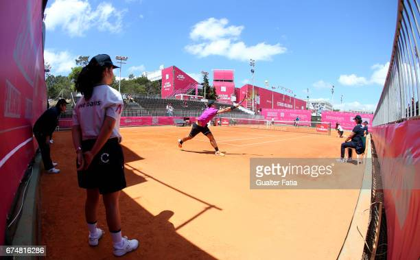Panoramic view of Court Cascais during the match between Ernesto Escobedo from USA and Nicolas Jarry from Chile for Millennium Estoril Open at Clube...