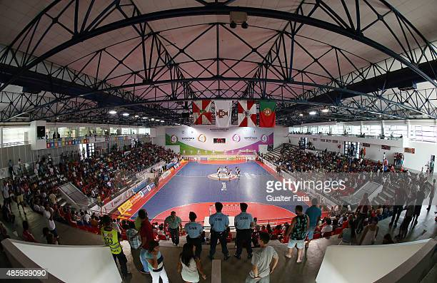Panoramic view of Dr Salvador Machado Pavilion during the Futsal Super Cup match between SL Benfica and AD Fundao at Pavilhao Dr Salvador Machado on...