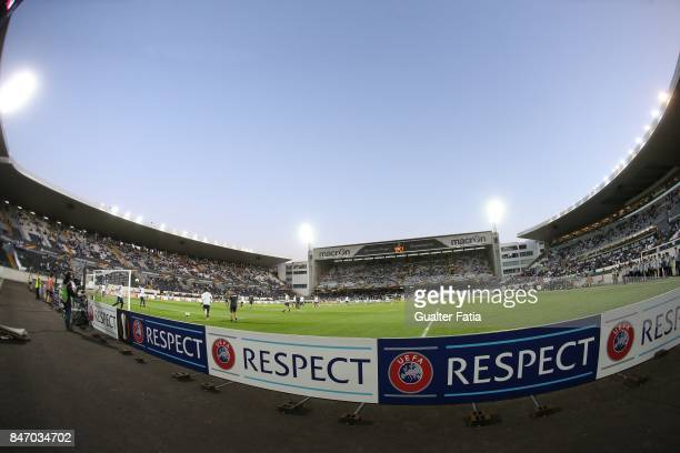 Panoramic view of Estadio D Afonso Henriques during the teams warm up before the start of the UEFA Europa League match between Vitoria de Guimaraes...