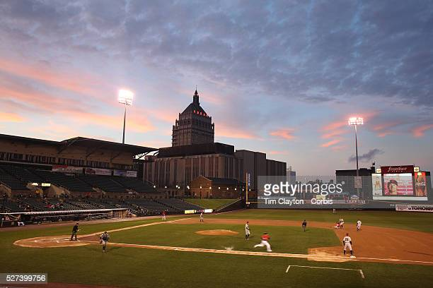 A panoramic view of Frontier Field at sunset showing the Kodak building in the background during the Rochester Red Wings V The Scranton/WilkesBarre...