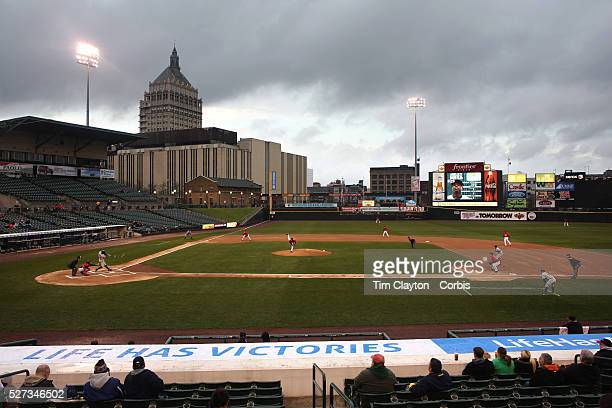 A panoramic view of Frontier Field showing the Kodak building in the background during the Rochester Red Wings V The Scranton/WilkesBarre RailRiders...