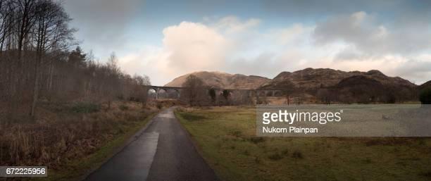 Panoramic view of glenfinnan viaduct, Scotland