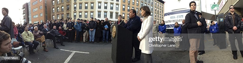 Panoramic view of Govoner Chris Christie addressing the Public and media November 4th 2012 to give an update on the storm damage that have left residents without power for almost a week from the devastation from flooding brought on by Superstorm Sandy.